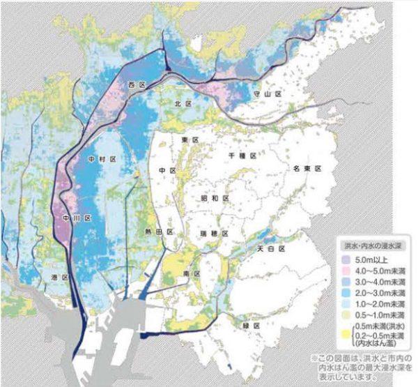 名古屋市と川の地図